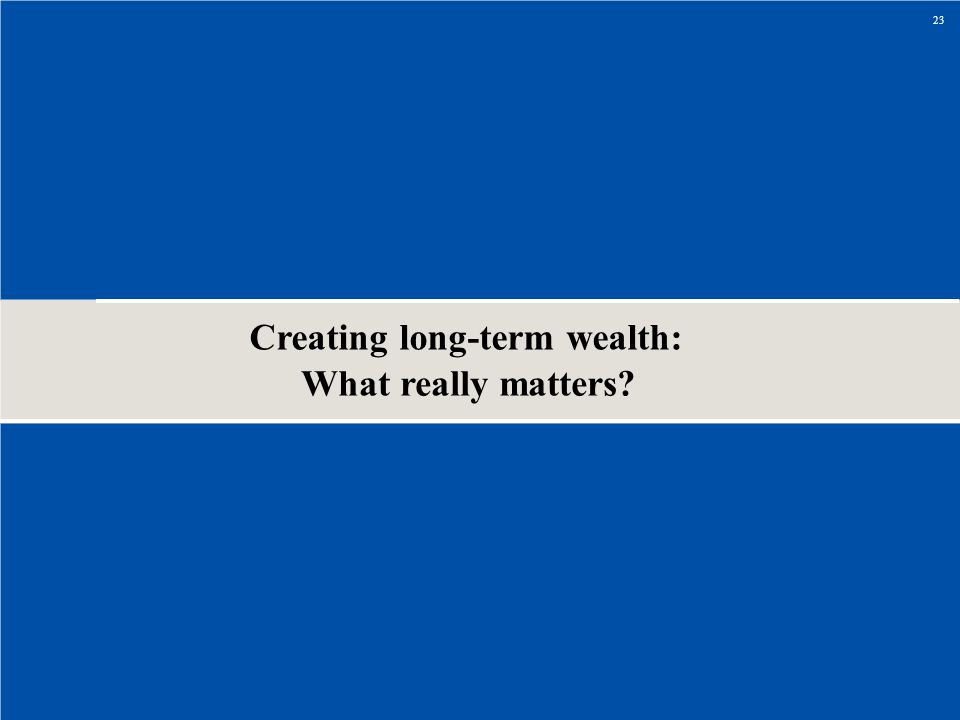 Creating long-term wealth: What really matters
