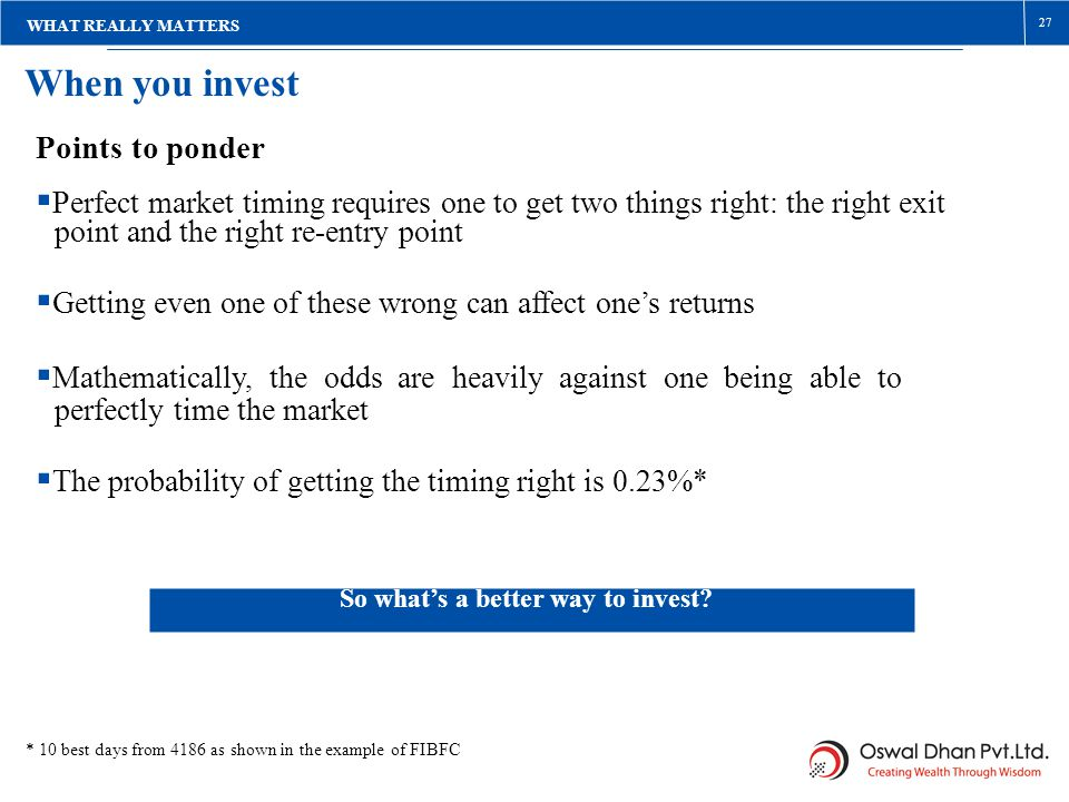 WHAT REALLY MATTERS 27. When you invest. Points to ponder. Perfect market timing requires one to get two things right: the right exit.