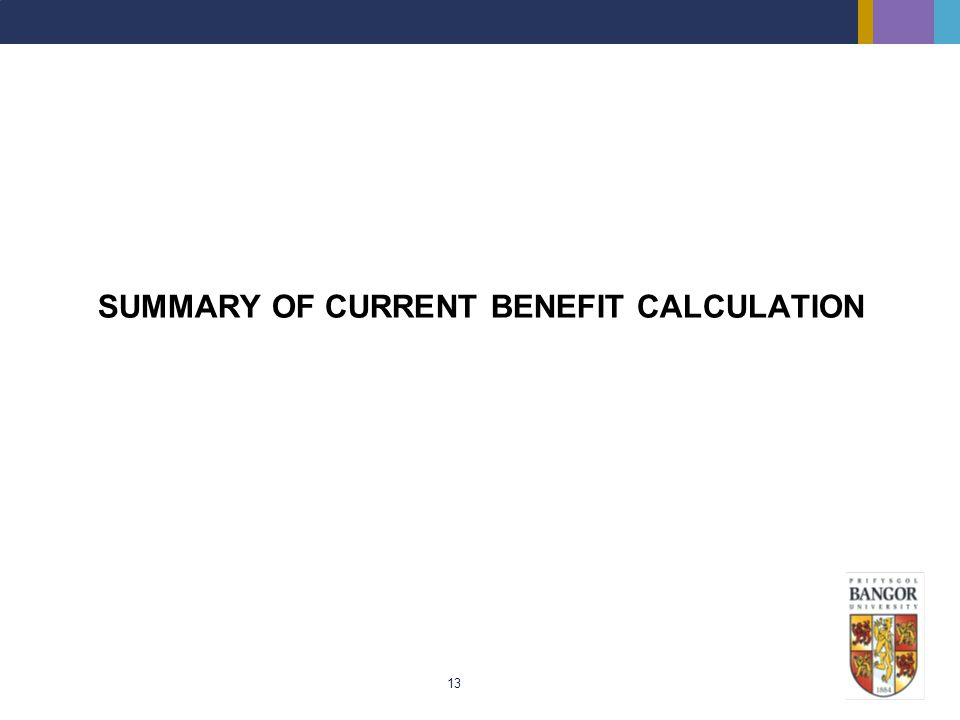 SUMMARY OF CURRENT BENEFIT CALCULATION