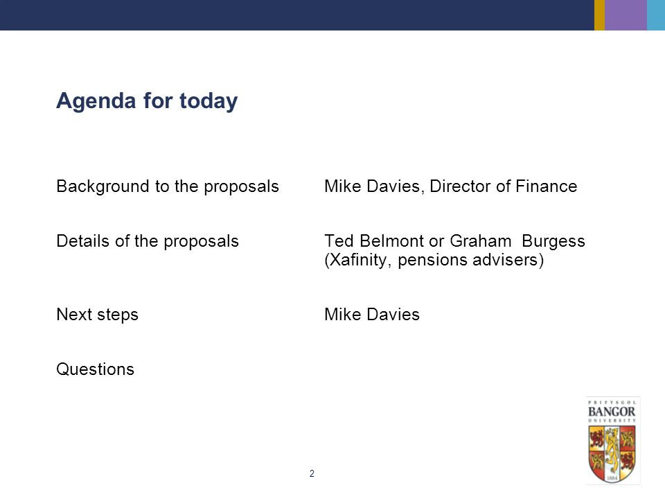 Agenda for today Background to the proposals Mike Davies, Director of Finance.