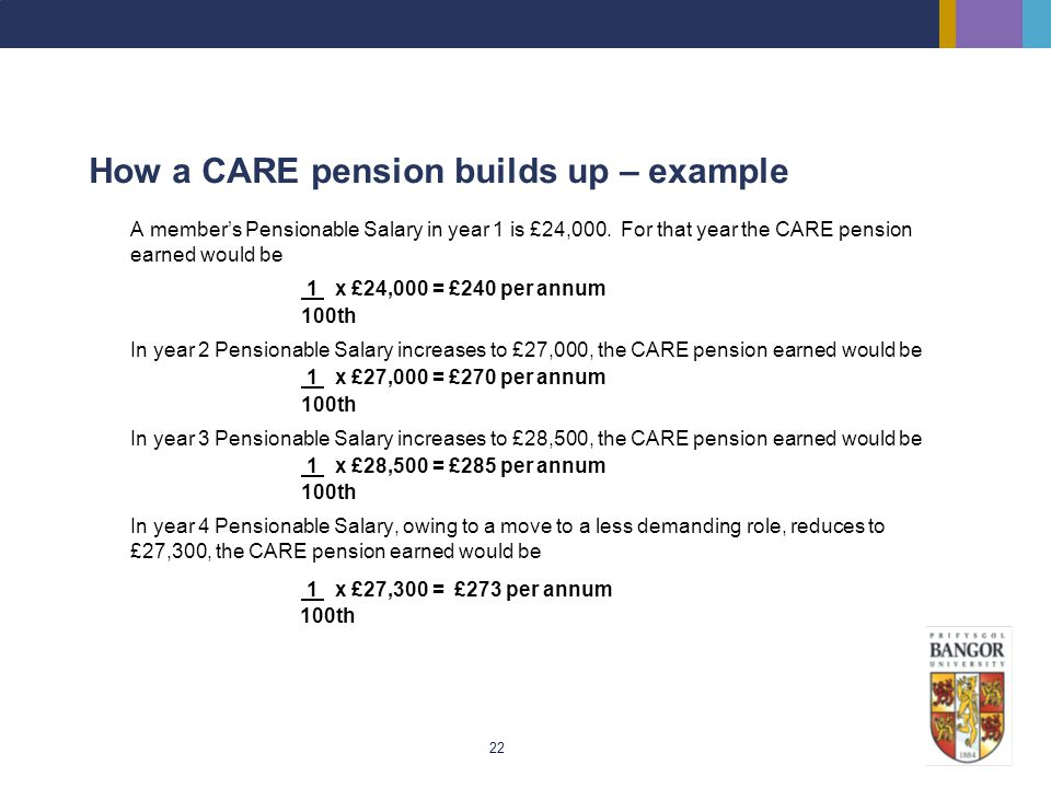 How a CARE pension builds up – example