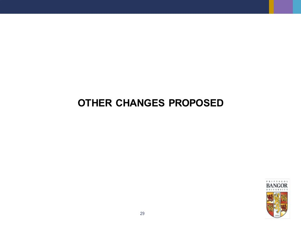 OTHER CHANGES PROPOSED