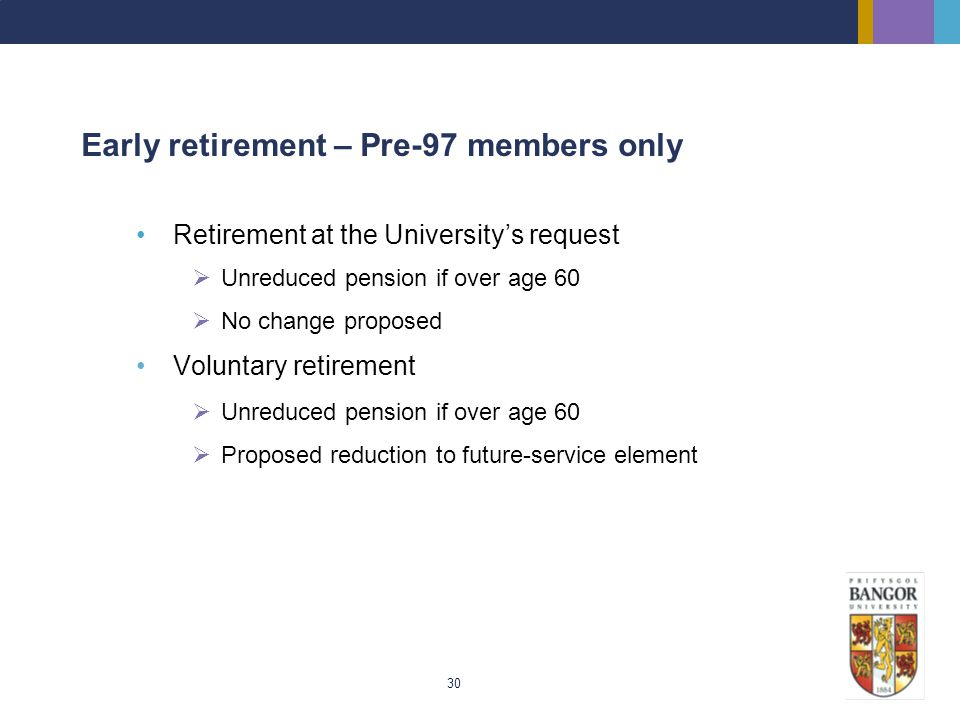 Early retirement – Pre-97 members only