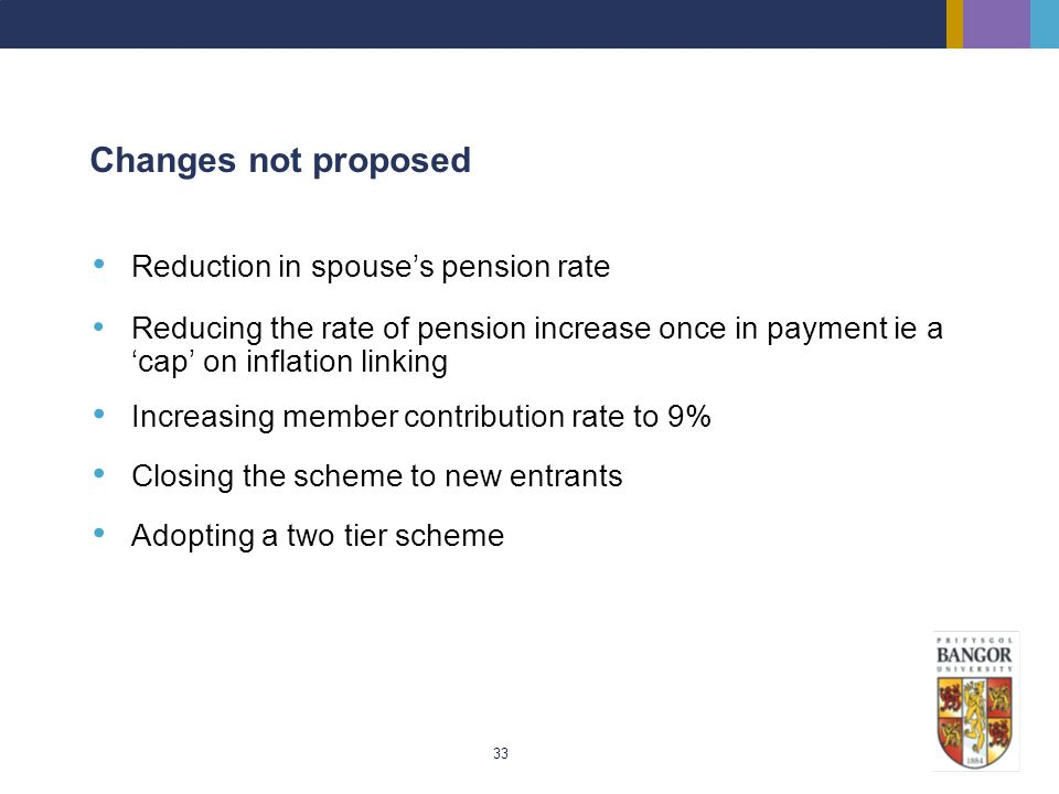 Changes not proposed Reduction in spouse's pension rate