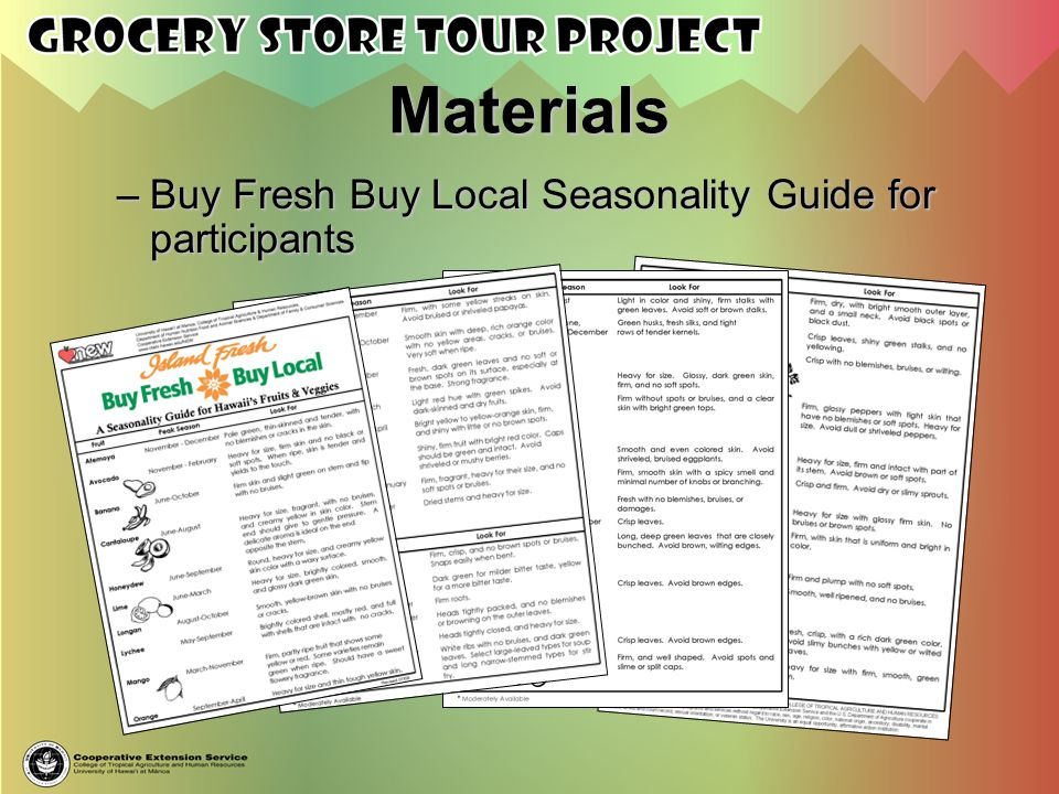 Materials Buy Fresh Buy Local Seasonality Guide for participants