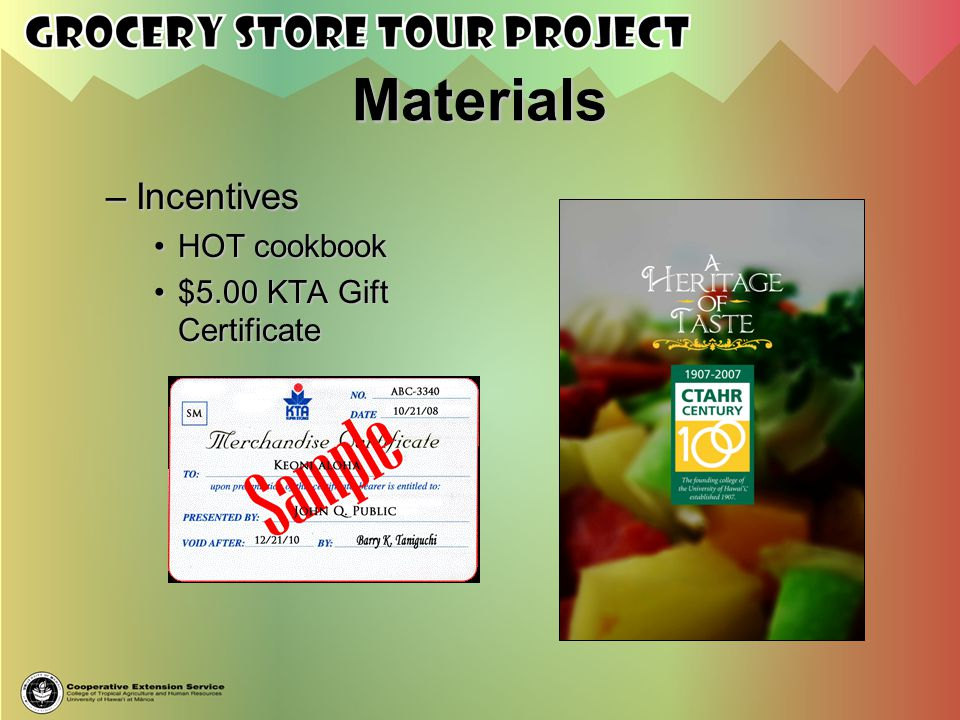 Materials Incentives HOT cookbook $5.00 KTA Gift Certificate