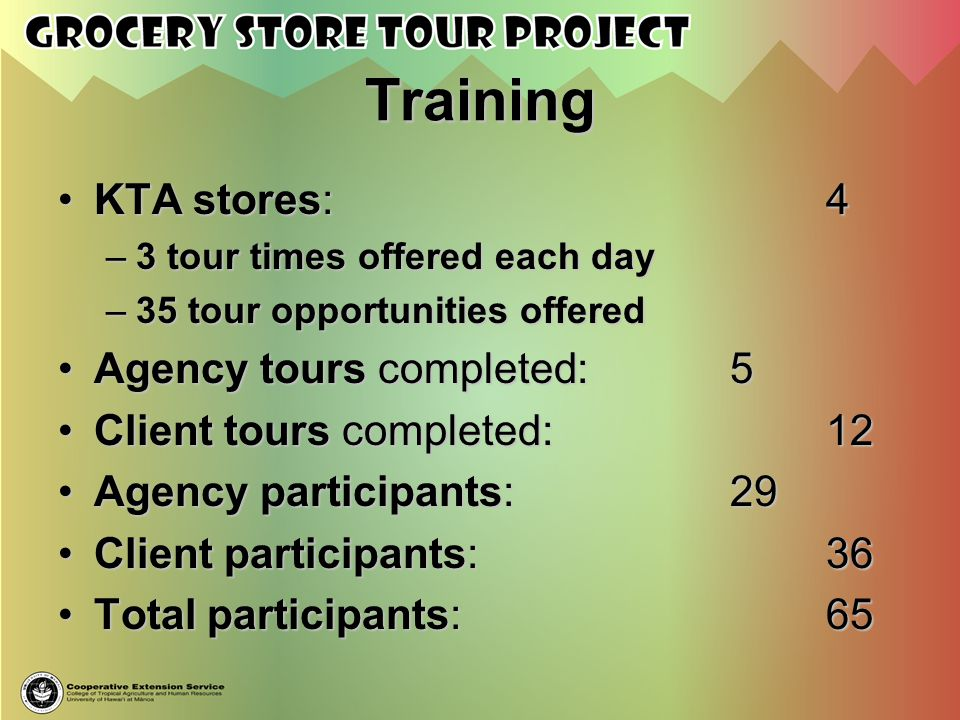 Training KTA stores: 4 Agency tours completed: 5