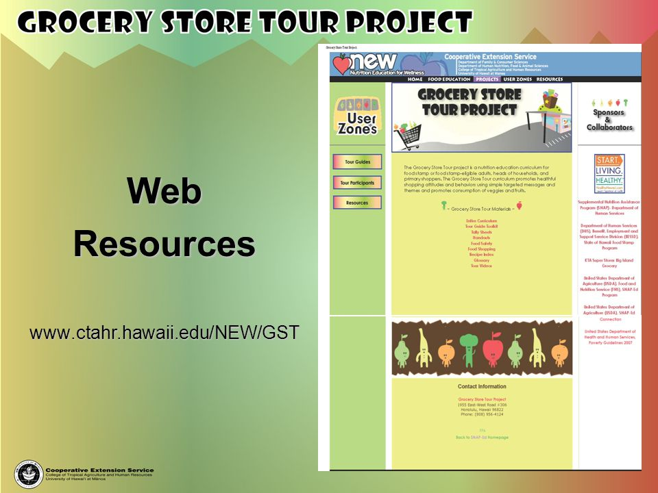 Web Resources www.ctahr.hawaii.edu/NEW/GST
