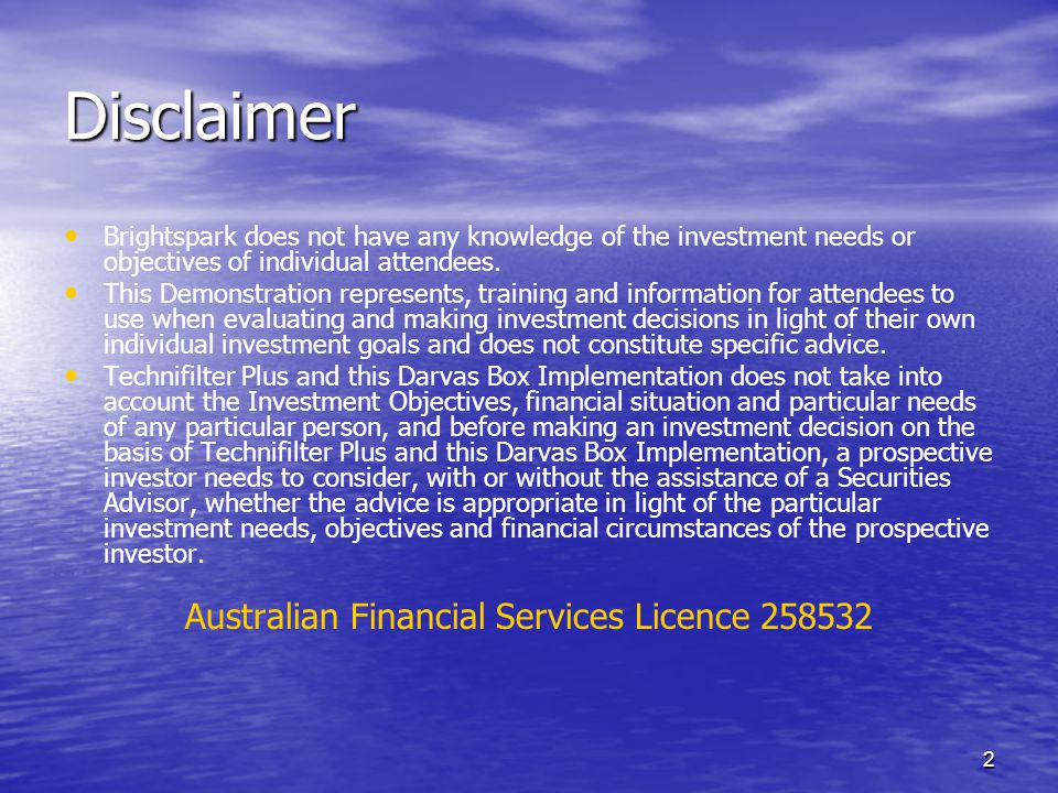Australian Financial Services Licence 258532