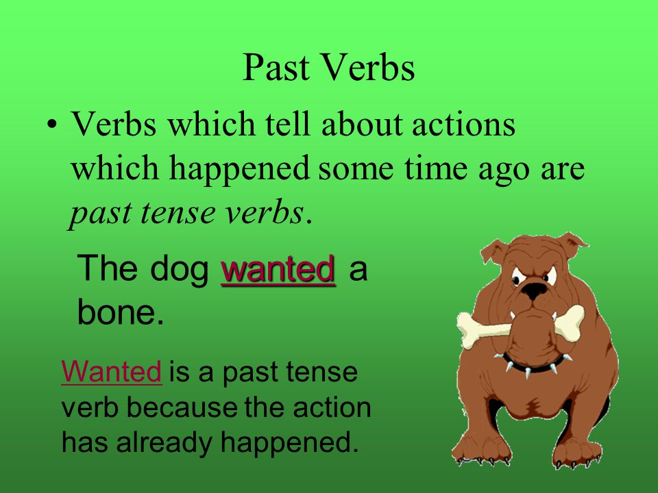 Past Verbs Verbs which tell about actions which happened some time ago are past tense verbs. The dog wanted a bone.