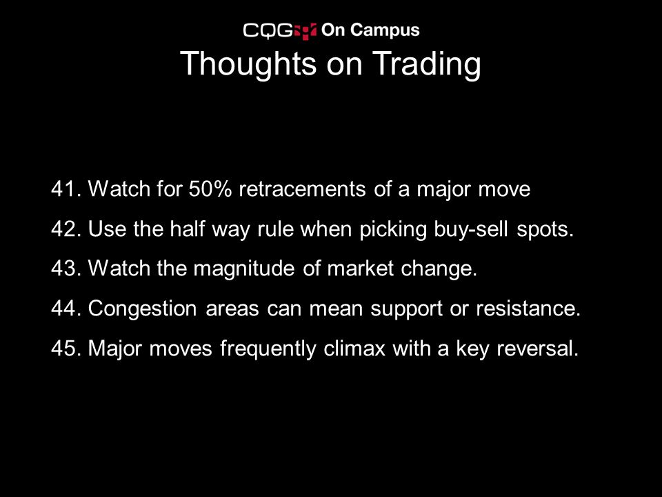 Thoughts on Trading 41. Watch for 50% retracements of a major move