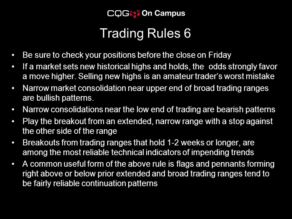 Trading Rules 6 Be sure to check your positions before the close on Friday.