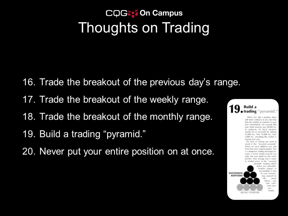 Thoughts on Trading Trade the breakout of the previous day's range.