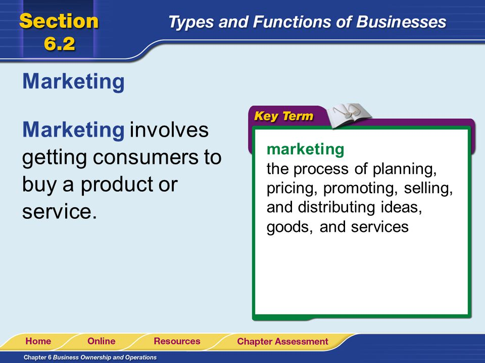 Marketing involves getting consumers to buy a product or service.