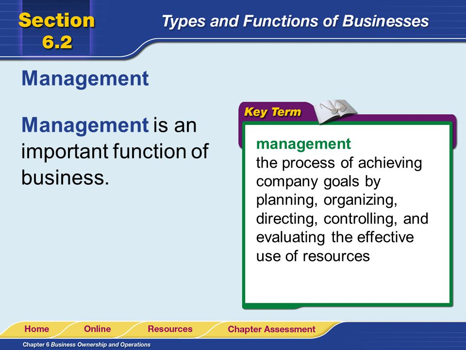 Management is an important function of business.