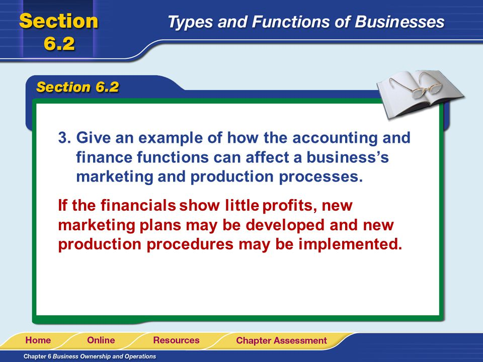 Give an example of how the accounting and finance functions can affect a business's marketing and production processes.