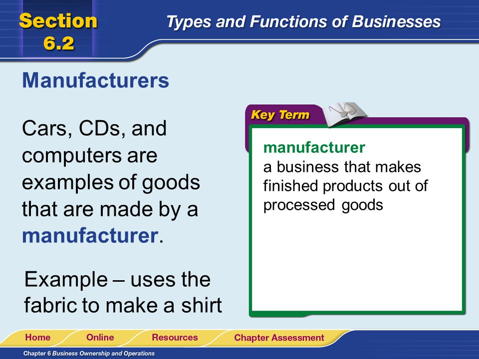 Manufacturers Cars, CDs, and computers are examples of goods that are made by a manufacturer. manufacturer.