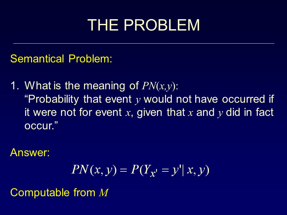 THE PROBLEM Semantical Problem: What is the meaning of PN(x,y):