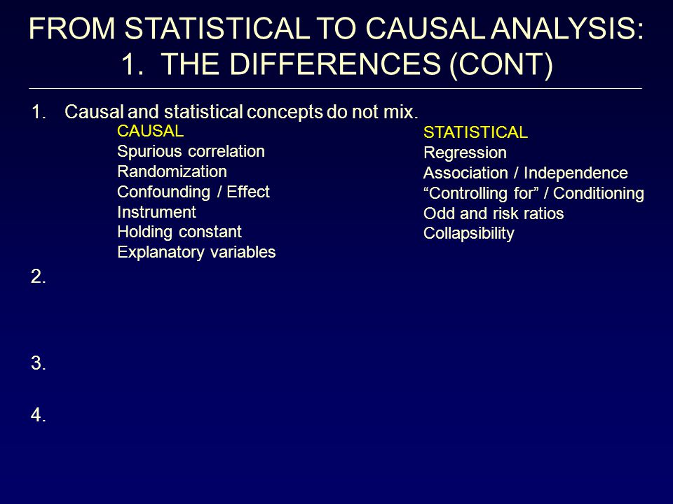 FROM STATISTICAL TO CAUSAL ANALYSIS: 1. THE DIFFERENCES (CONT)