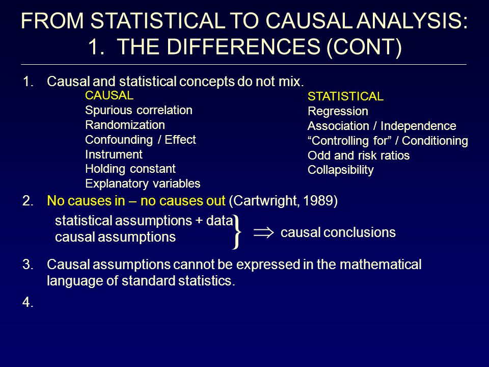 } FROM STATISTICAL TO CAUSAL ANALYSIS: 1. THE DIFFERENCES (CONT) 