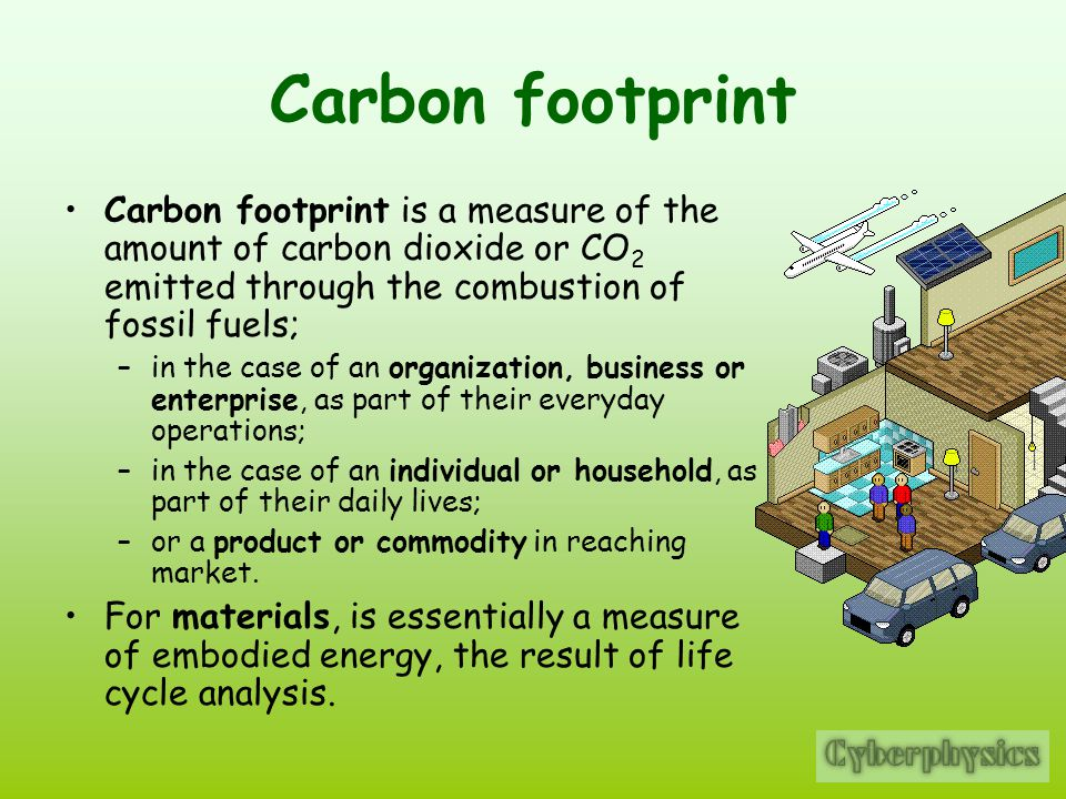 Carbon footprint Carbon footprint is a measure of the amount of carbon dioxide or CO2 emitted through the combustion of fossil fuels;
