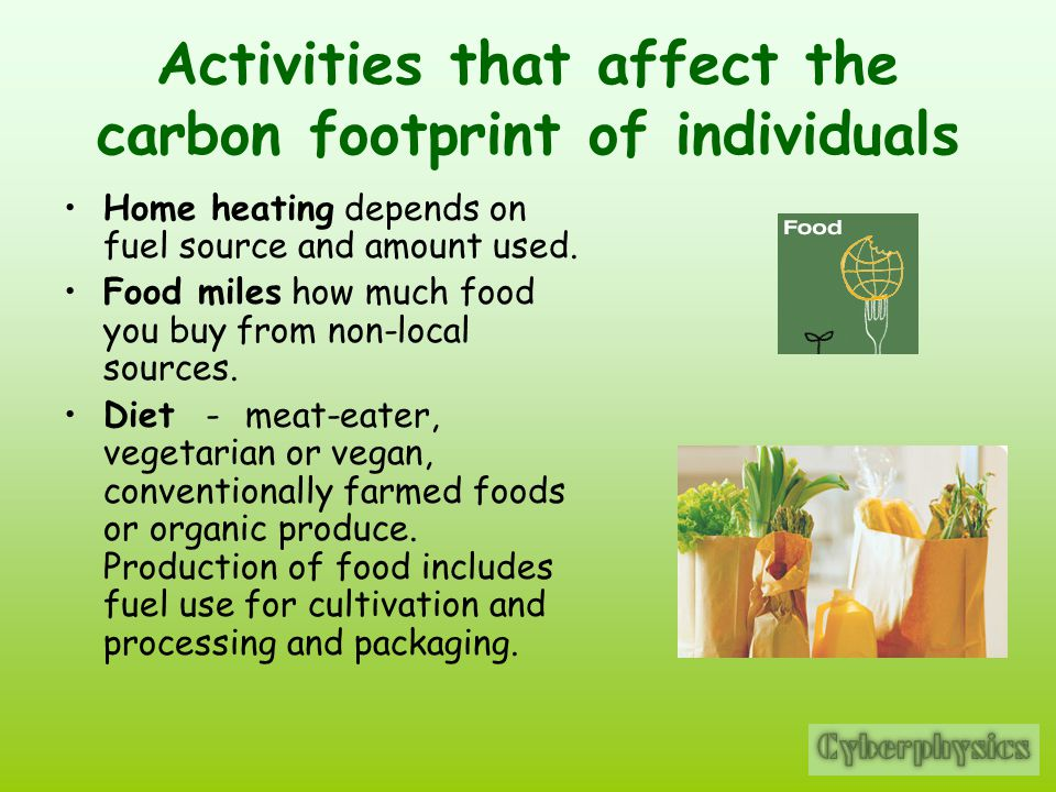 Activities that affect the carbon footprint of individuals
