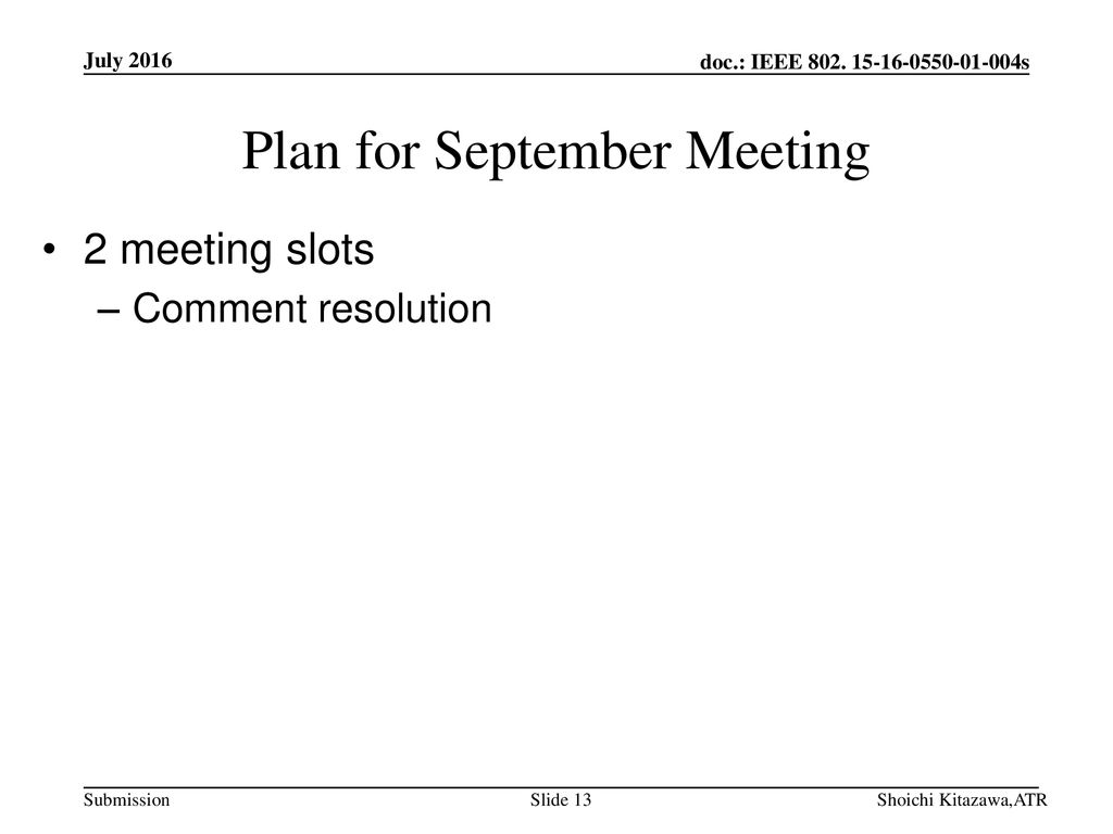 Plan for September Meeting