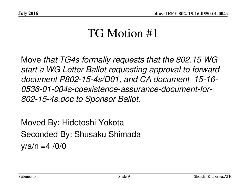 July 2016 TG Motion #1.