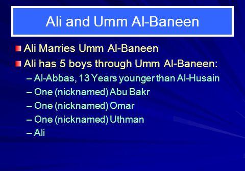 Ali and Umm Al-Baneen Ali Marries Umm Al-Baneen