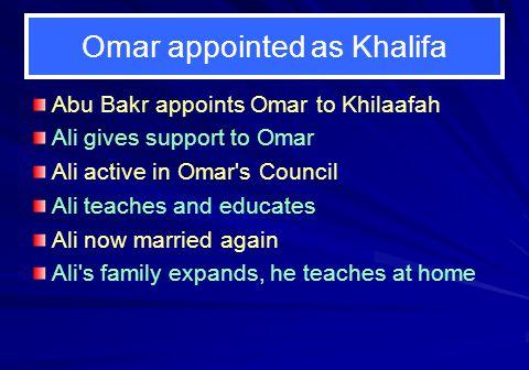 Omar appointed as Khalifa