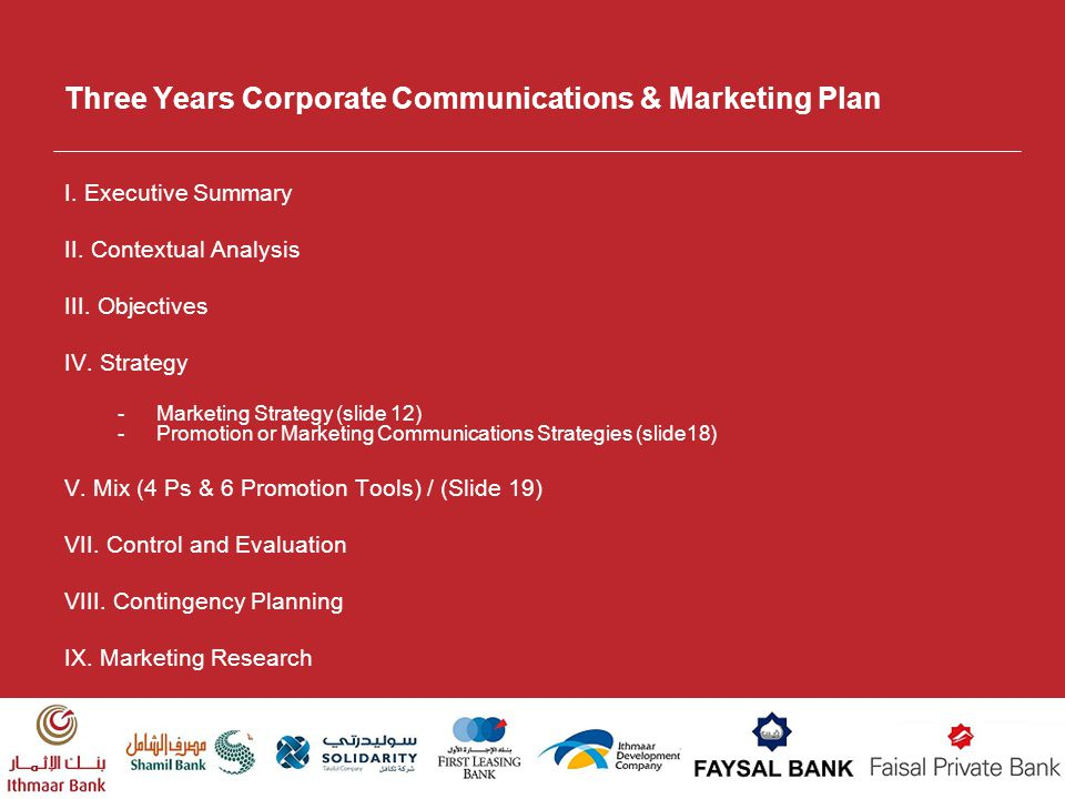 Three Years Corporate Communications & Marketing Plan