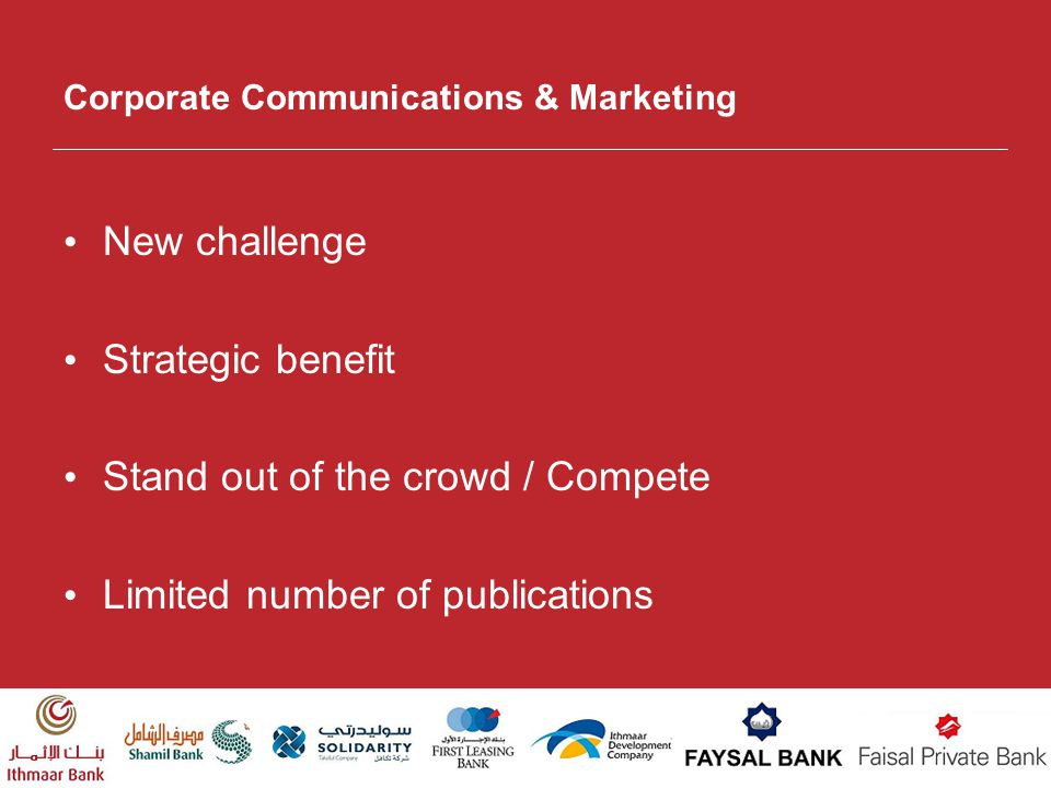 Corporate Communications & Marketing