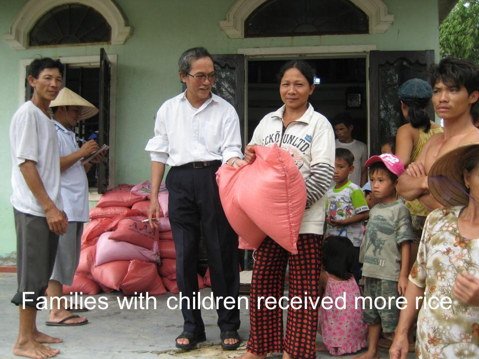 Families with children received more rice
