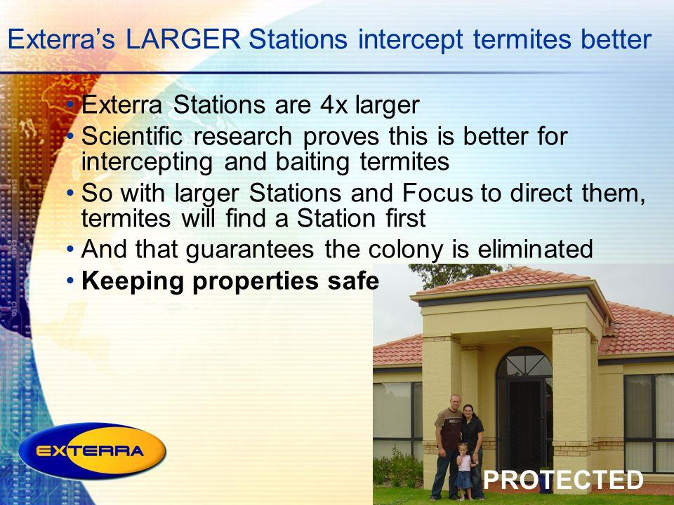 Exterra's LARGER Stations intercept termites better