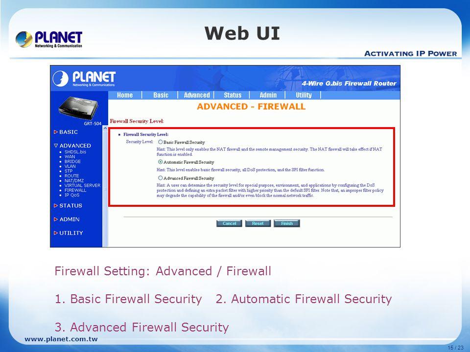 Web UI Firewall Setting: Advanced / Firewall
