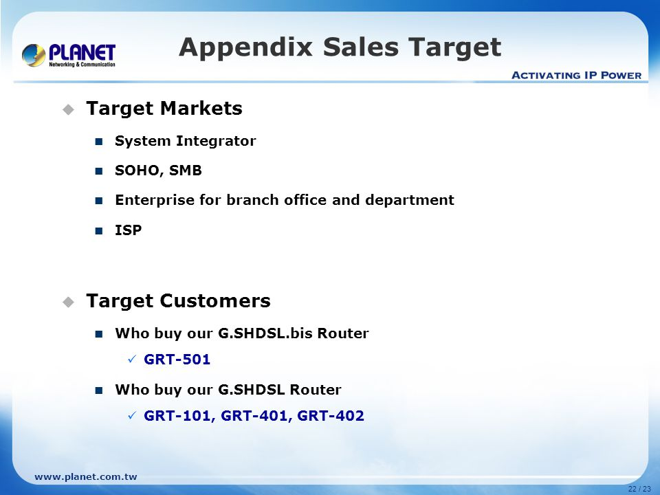 Appendix Sales Target Target Markets Target Customers