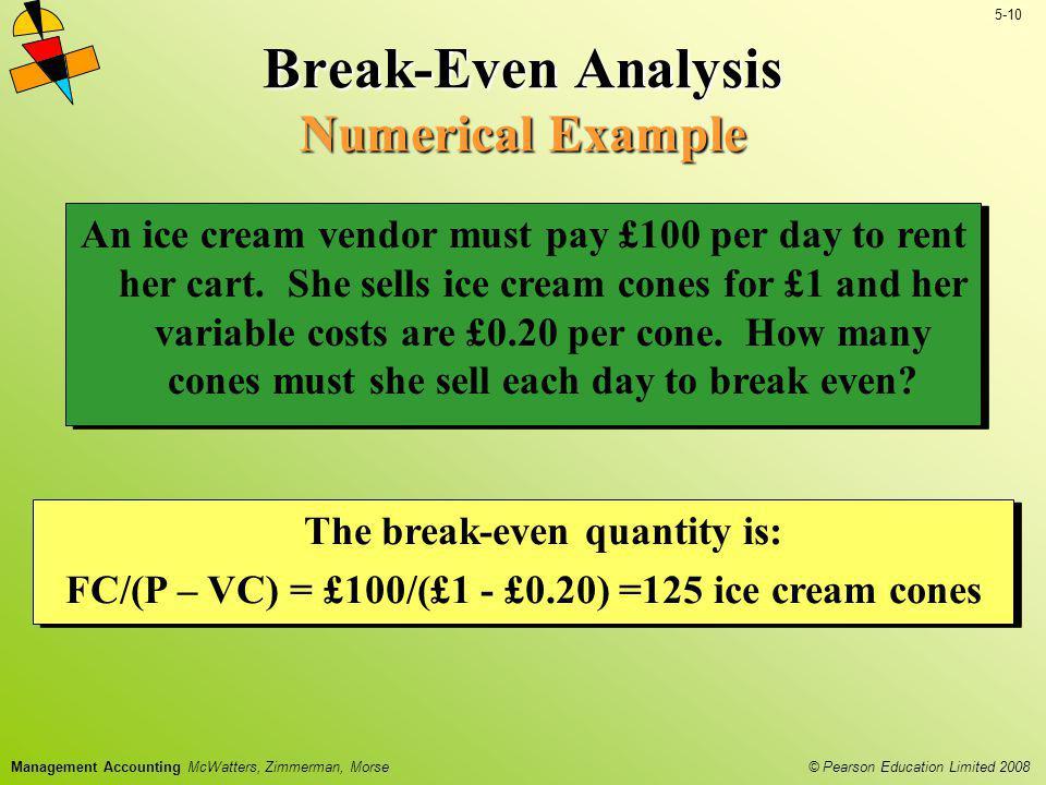 Break-Even Analysis Numerical Example