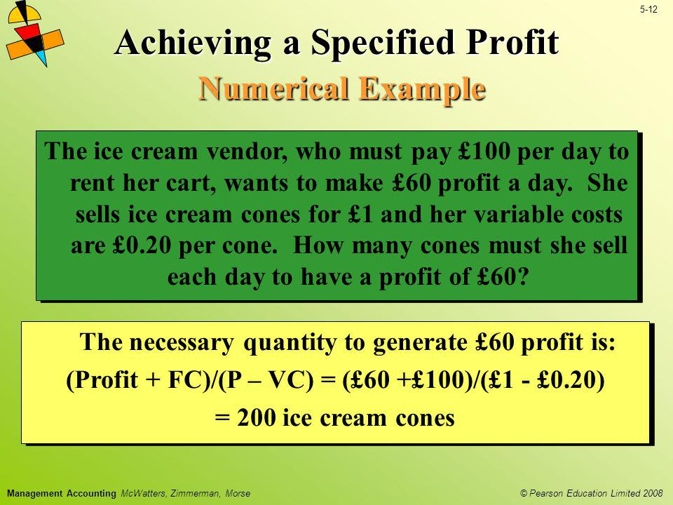Achieving a Specified Profit Numerical Example