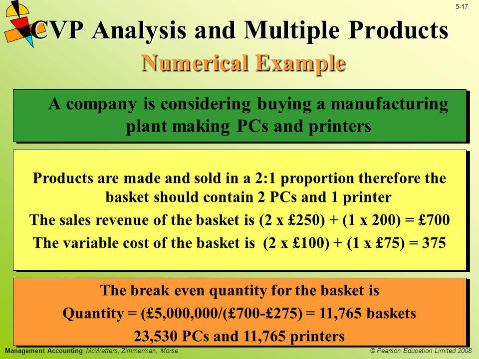 CVP Analysis and Multiple Products Numerical Example