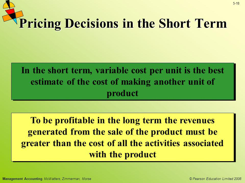 Pricing Decisions in the Short Term