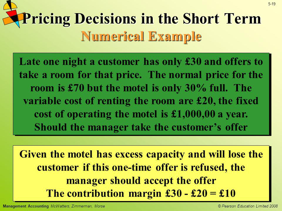 Pricing Decisions in the Short Term Numerical Example