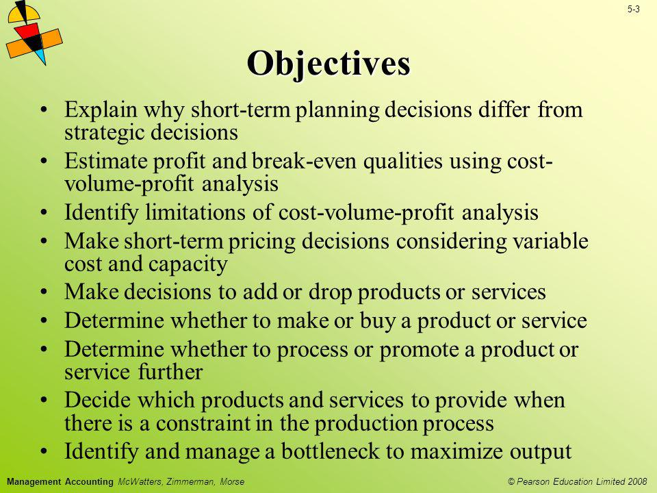 Objectives Explain why short-term planning decisions differ from strategic decisions.