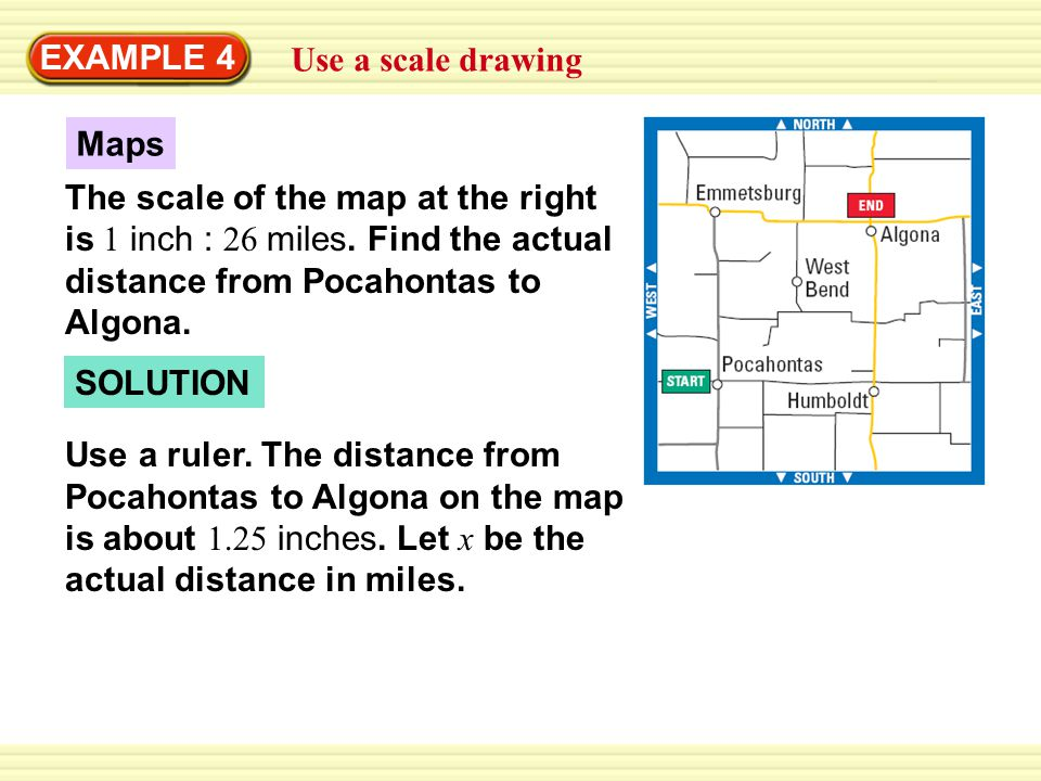 EXAMPLE 4 Use a scale drawing. Maps. The scale of the map at the right is 1 inch : 26 miles. Find the actual distance from Pocahontas to Algona.