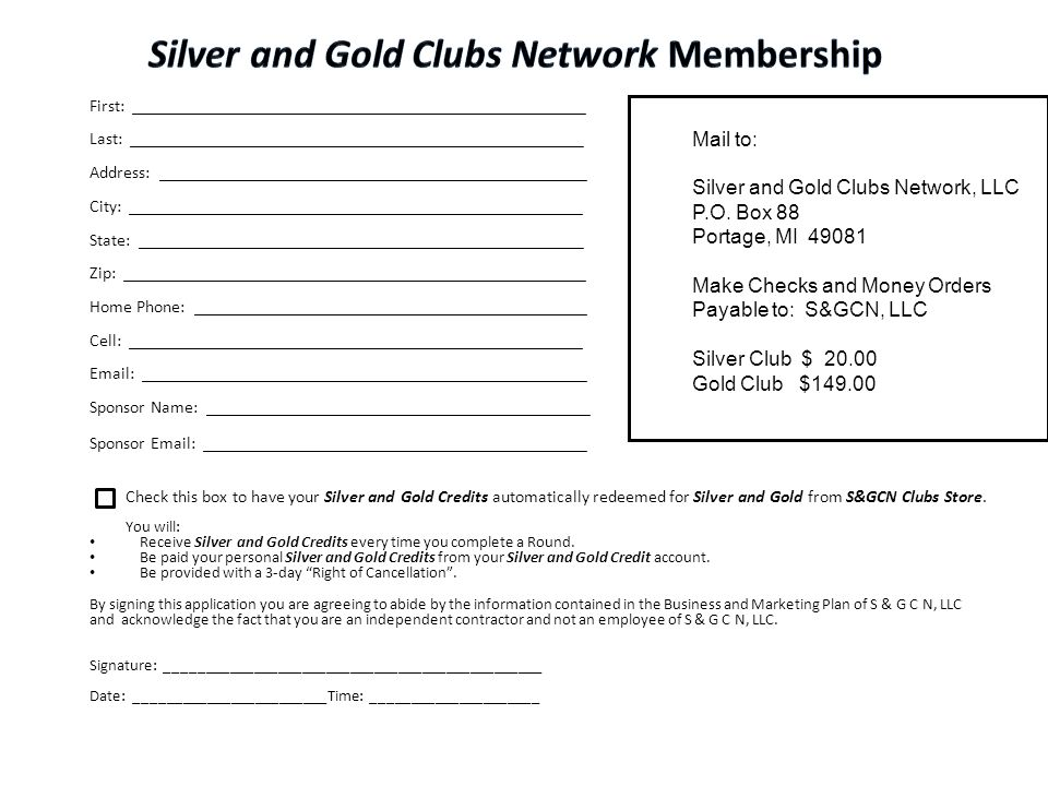 Silver and Gold Clubs Network Membership