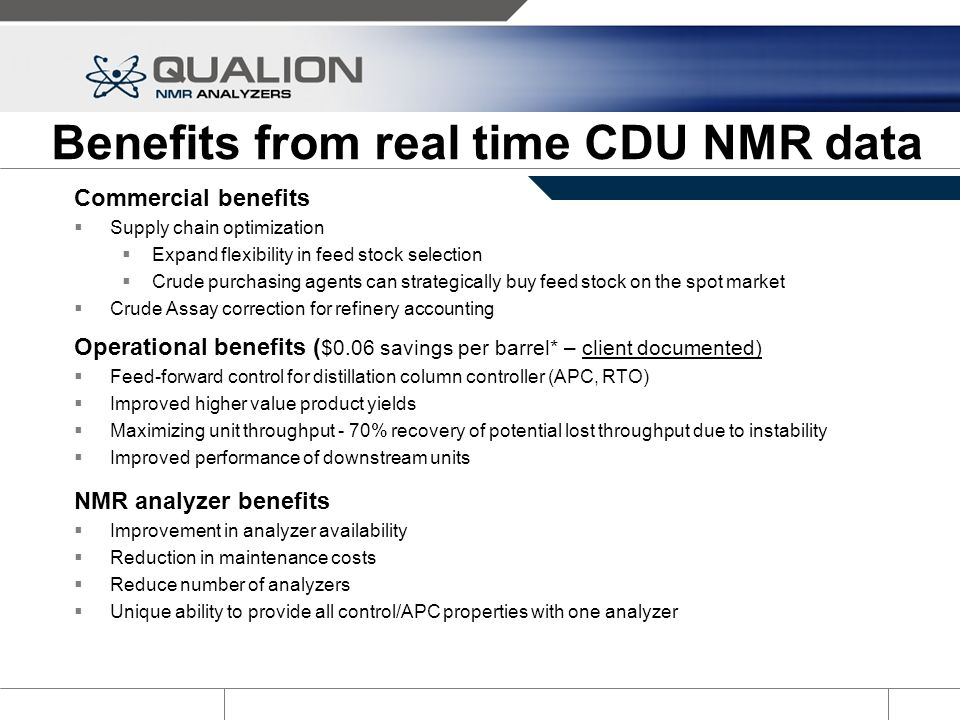 Benefits from real time CDU NMR data