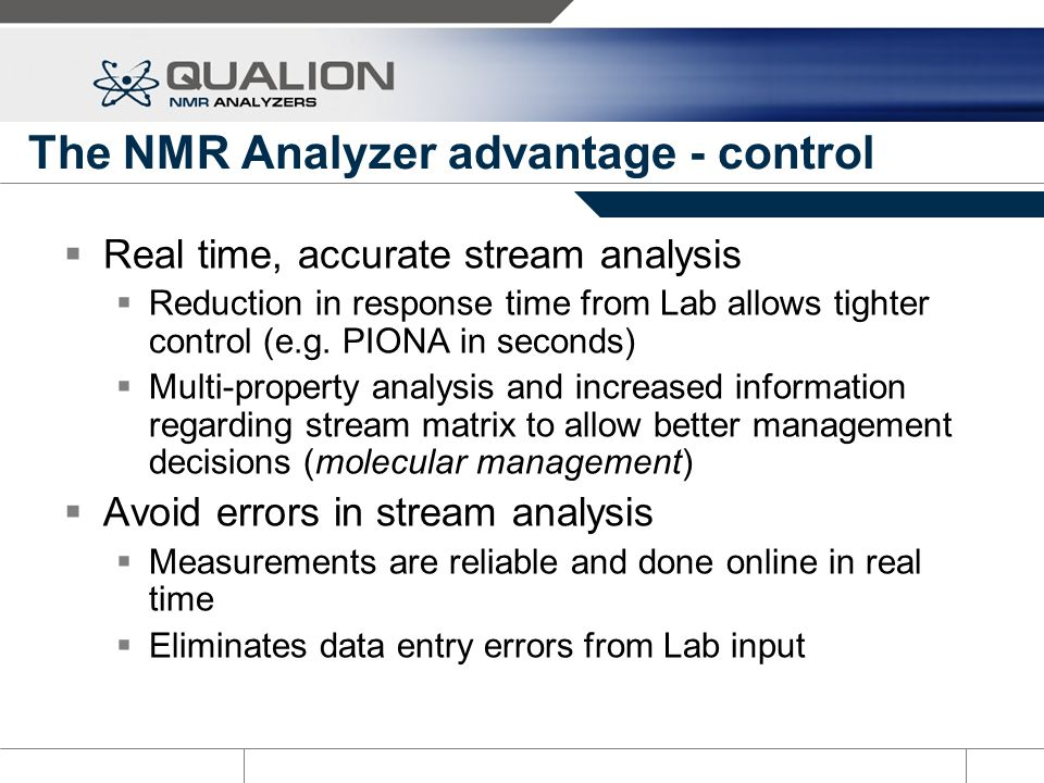 The NMR Analyzer advantage - control