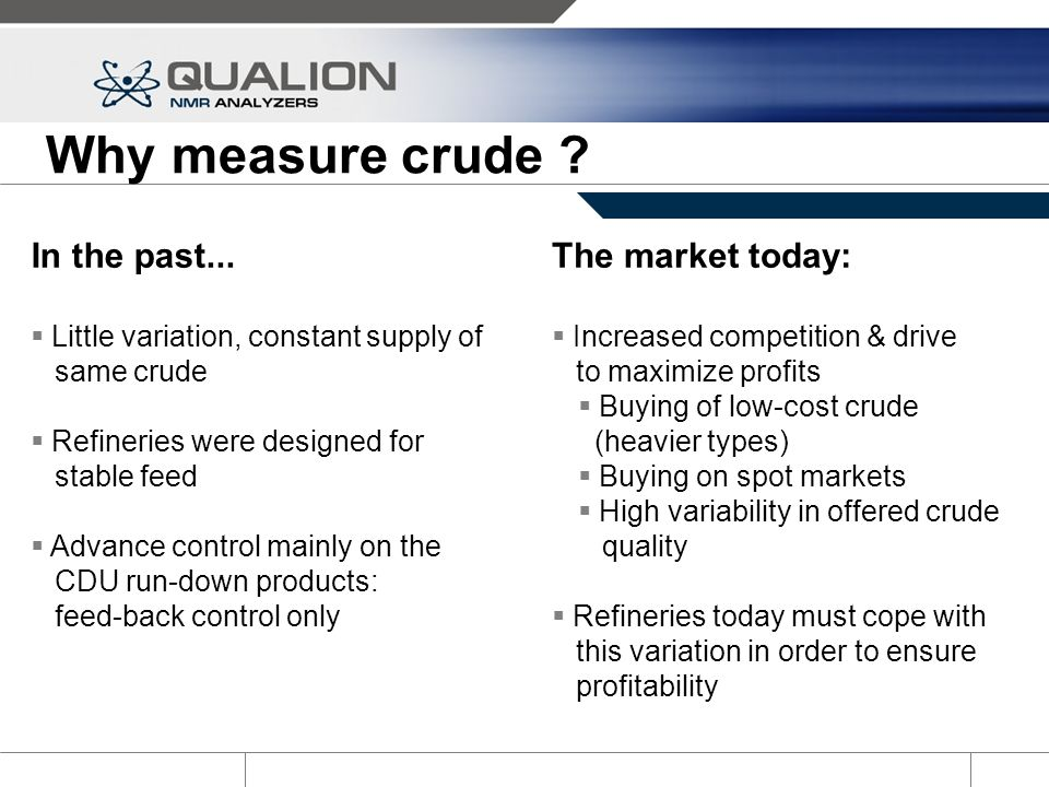 Why measure crude In the past... The market today: