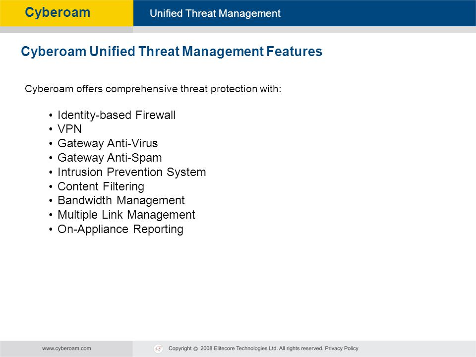 Cyberoam Unified Threat Management Features