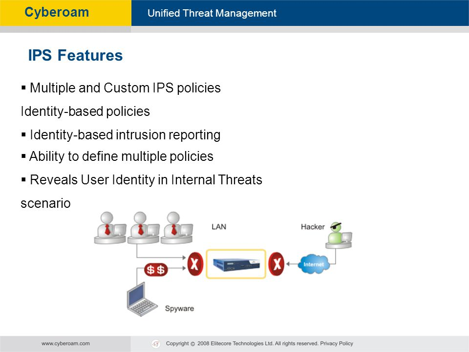 IPS Features Multiple and Custom IPS policies Identity-based policies