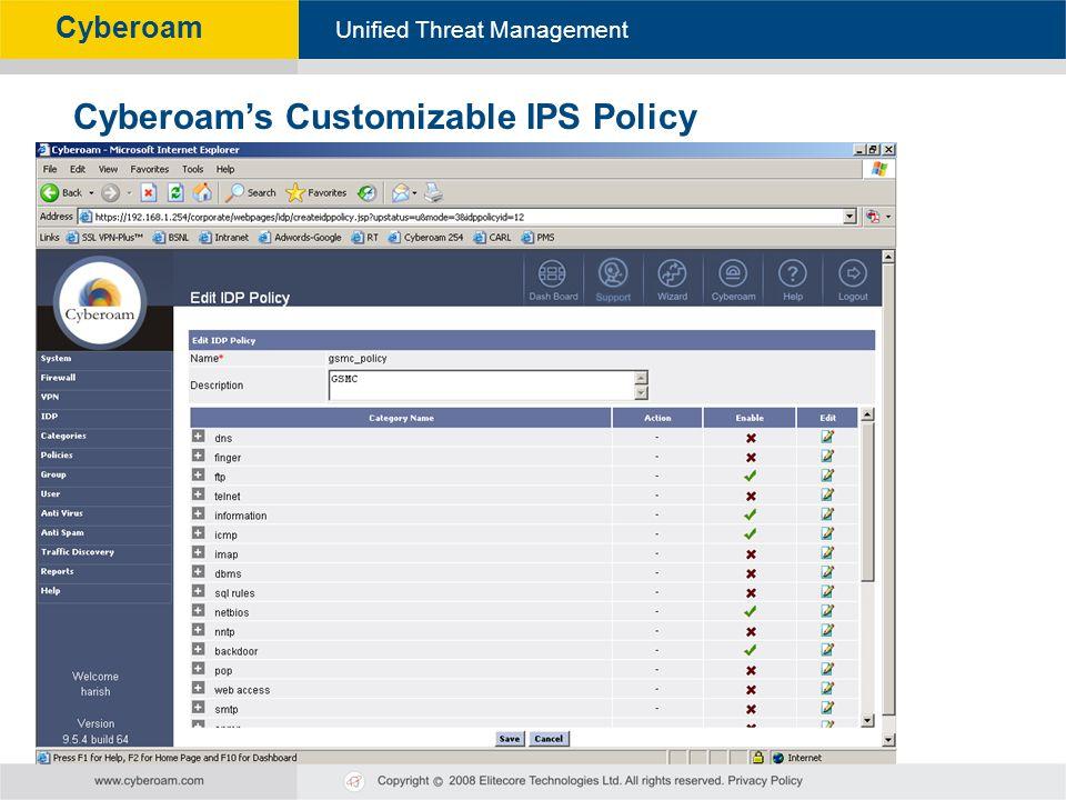 Cyberoam's Customizable IPS Policy